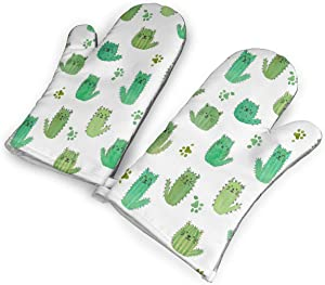 Cat-cus! Cactus Cats and Paws Kitchen Oven Mitts, Cotton Long Microwave Oven Gloves, Extreme Heat Resistant 572 Degrees Nonslip Gloves for Potholders Cooking, BBQ, Frying, Baking (1 Pair)