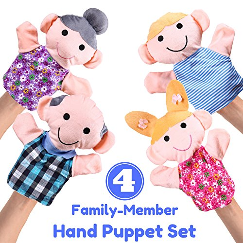 """Hand Puppet Set - 4 Family Member - Premium Quality, Big 14"""" Inch Soft Plush Hand Puppets For Kids - Perfect For Storytelling, Teaching, Preschool, Role-Play 
