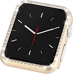 Coobes Compatible with Apple Watch Case 38mm 42mm, Metal Bumper Protective Cover Women Bling Diamond Crystal Rhinestone Shiny Compatible iWatch Series 3/2/1 (Diamond-Gold, 42mm)