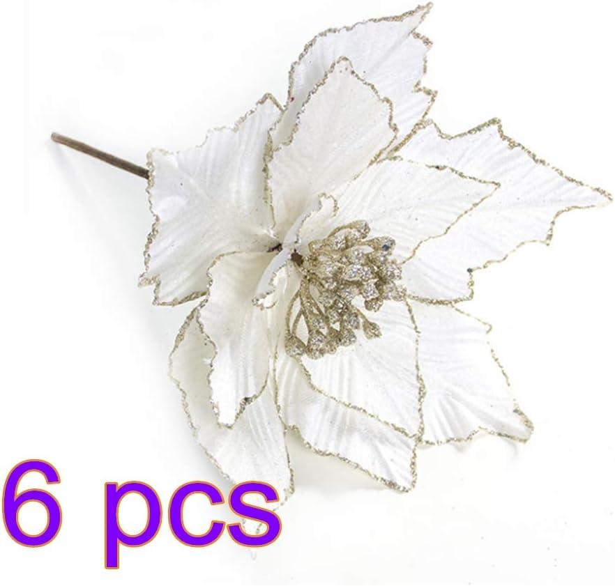 6 piezas de flores artificiales de Navidad, flor de Pascua de seda con purpurina, adornos de árbol de Navidad, flor de Pascua artificial, accesorios de arreglo, Blanco, 24x28cm
