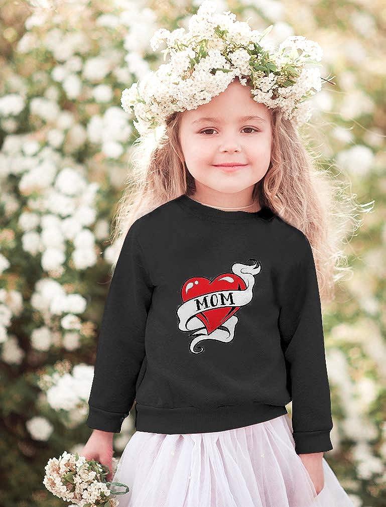 Mom Heart Tattoo Love Mom Toddler//Kids Sweatshirts
