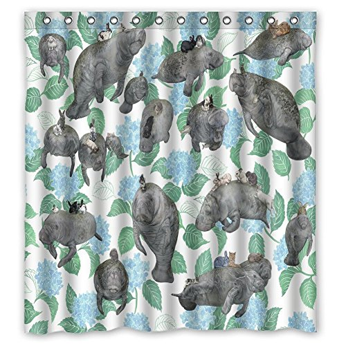 Outlet Manatees And Bunnies Bath Curtain Waterproof Polyester Shower Curtains 66