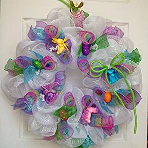 Easter Egg Deco Mesh Ribbon Wreath with Easter Bunnies 14