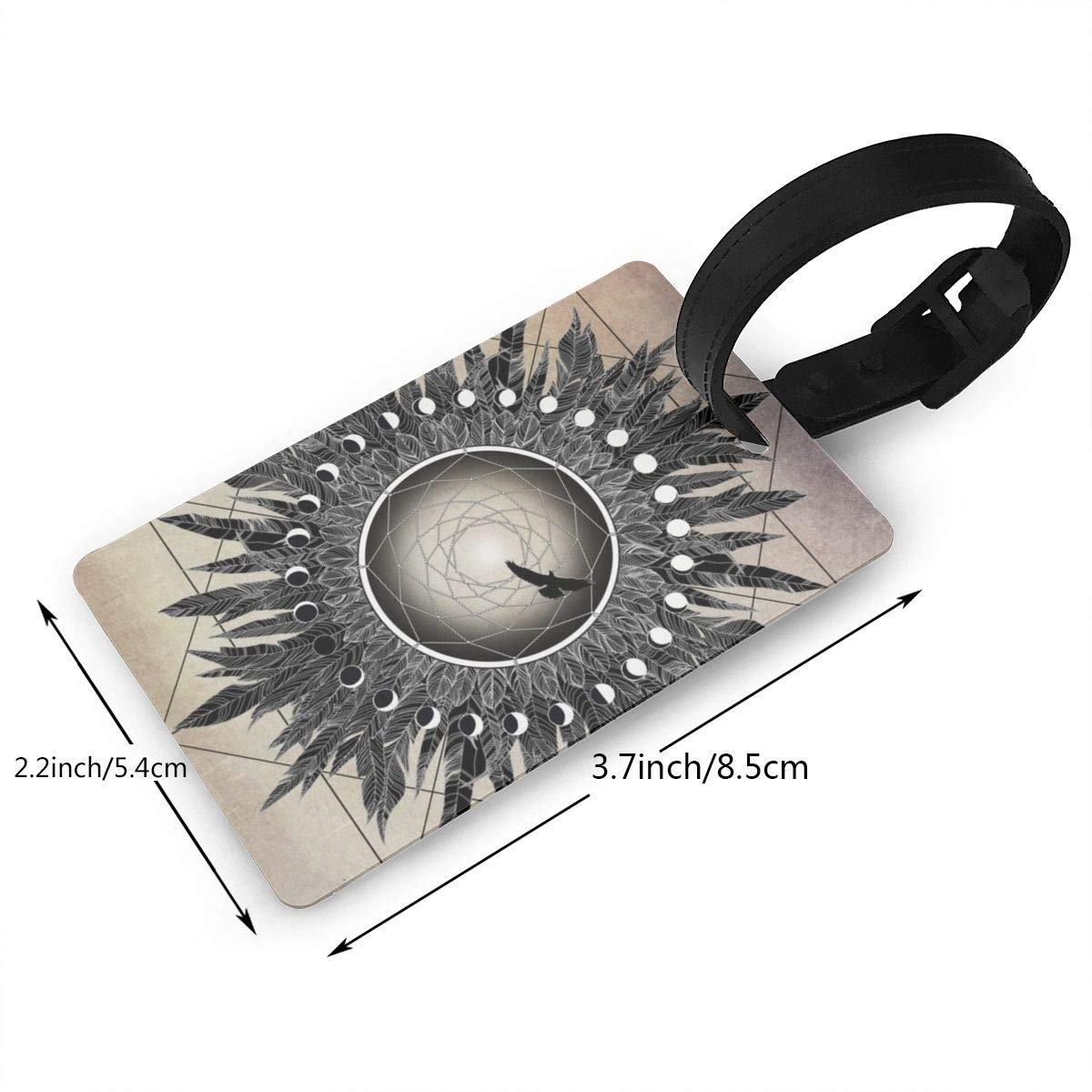 Set of 2 Crow twilight dreamcatcher Luggage Tags Suitcase Labels Bag Travel Accessories