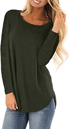 Sunnyme - Camiseta de manga larga para mujer, de algodón, casual, a rayas, túnica: Amazon.es: Ropa y accesorios