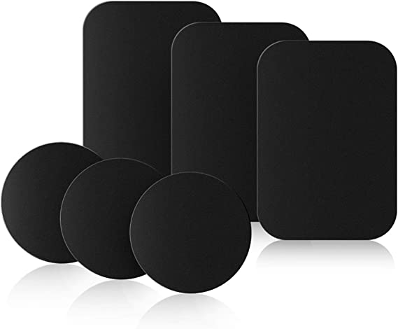Mount Metal Plate with 3M Adhesive Replacement Kits for Magnet Mount Magnetic Cell Phone Car Mount Holder Cradle with 4 Rectangle and 4 Round Universal 8 Pack-Black