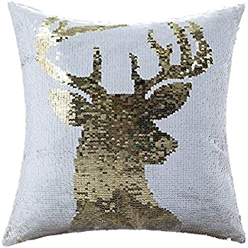 Homecy Reversible Sequins Pillow Cover Christmas Elk Patten Mermaid Pillowcases Cushion 16x16 Inch