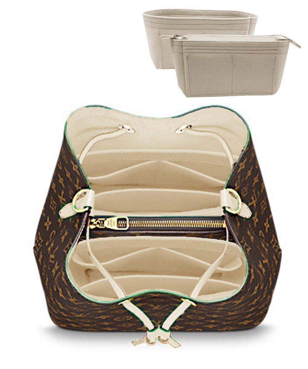LEXSION 2-Pack Felt Handbag Organizer ,Insert purse organizer Fits LV Neonoe Perfectly Beige M
