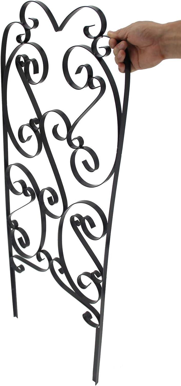 "FixtureDisplays 2 Pack Garden Trellis for Climbing Plants 45"" x 16"" Sturdy Black Metal Trellis for Plants Support Lattice Metal Trellises for Climbing Rose Vine Flower Cucumber Clematis 10026-2PK-NF"