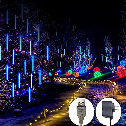 Outdoor Meteor Shower Rain Lights, Indoor 8 Tube 144 LEDs Outdoor Christmas String Light, Solar Powered Waterproof Snow Falling Raindrop Icicle Cascading Decoration Lights for Party Garden Home (Blue) (Lights Christmas Icicle Blue)