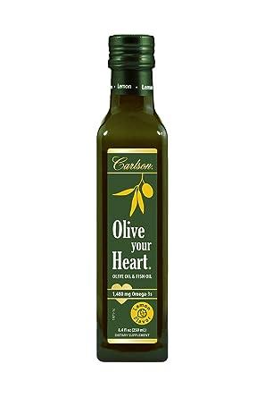 Carlson - Olive Your Heart, Greek Olive Oil & Norwegian Fish Oil, 1480 mg Omega-3s, Heart Health, Antioxidants, Lemon Flavor, 250 mL (8.4 Fl Oz)