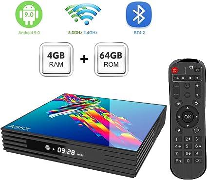 Sidiwen Android 9.0 TV Box A95X R3 Android Box 4 GB RAM 64 GB ROM RK3318 Quad-Core 2.4 / 5.0G Dual WiFi Bluetooth 4.2 Ethernet H.265 3D 4K Ultra HD Smart TV Box: Amazon.es: Electrónica