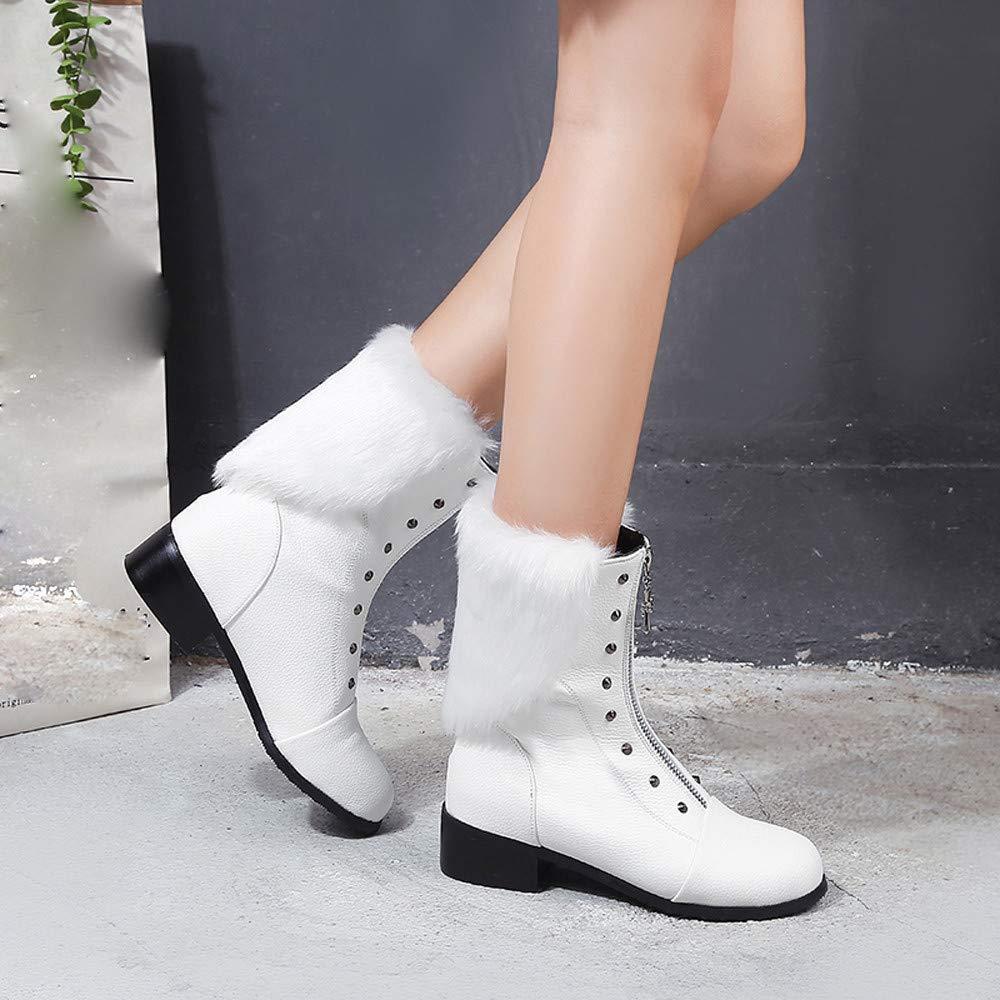 damen Retro Nieten Hairy Front Zipper Schuhe Plattform Plattform Plattform Leder Warm Martin Martin Stiefel (Farbe   Weiß, Größe   5.5 UK) ded244
