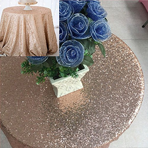 Round Rose None (Round Rectangular Rose Gold Sparkle Bling Sequin Tablecloth Wedding Tablecloth)