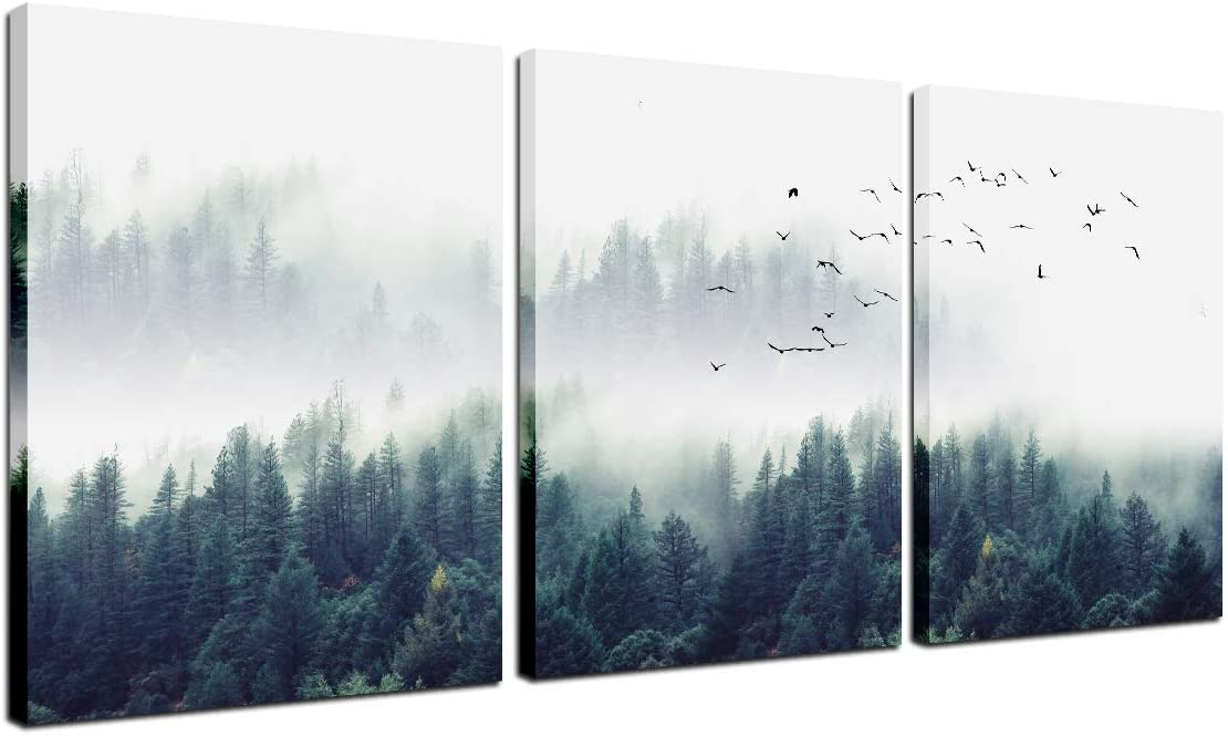 Landscape Painting Canvas Wall Art - Home Office Decor Misty Forest Pine and Flying Birds Natural Poster Trees Picture Framed Modern Print 3 Panel Living Room Decoration Kitchen Bedroom Artwork