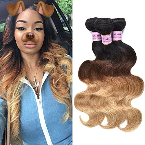Malaysian Virgin Body Wave Bundles Ombre Color 1b/4/27 Three Tone Malaysian Human Hair Weft Extensions Remy Hair Weave Bark Blackish Brown 100g/piece(14 16 16 - Blackish Brown Color