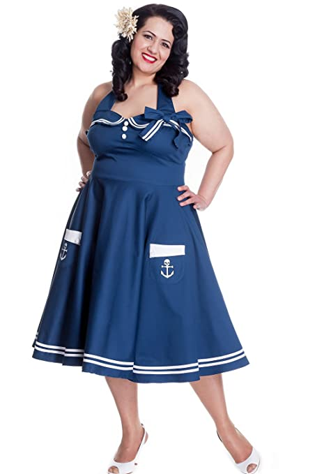 1940s Plus Size Dresses | Swing Dress, Tea Dress Hell Bunny Plus 60s Pinup Vintage Halter Dark Navy Sailor Swing Dress $95.95 AT vintagedancer.com