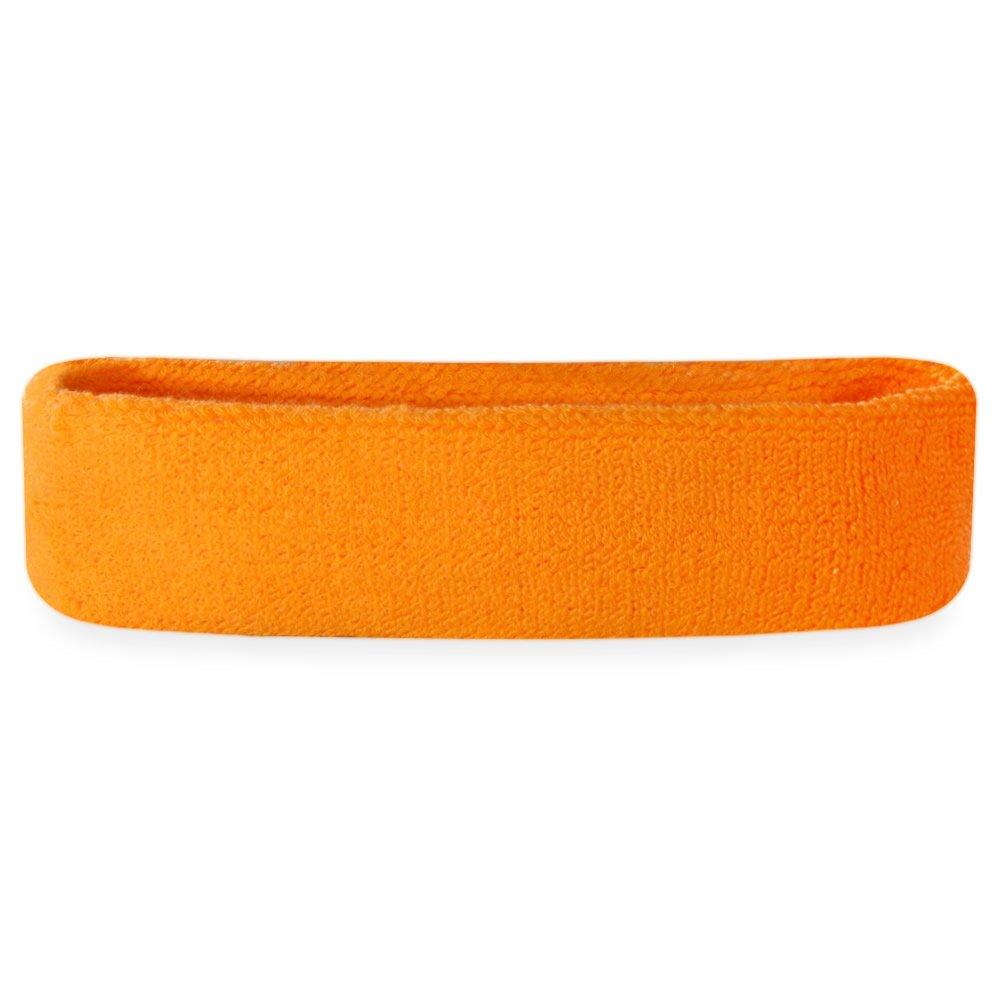 Suddora Sweatband/Headband - Terry Cloth Athletic Basketball Head Sweat Bands (Neon Orange)