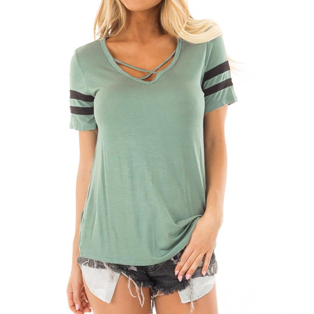ESAILQ Frauen Criss Cross vorne V-Ausschnitt Patchwork Kurzarm T-Shirt Bluse Tops