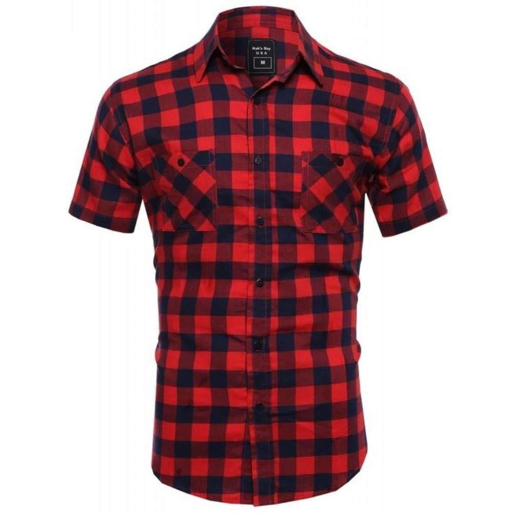 Hawks Bay Mens Plaid Shirt Button Up Short Sleeves