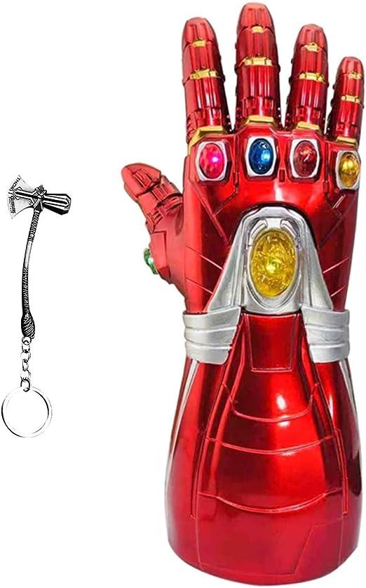 Aokairuisi Iron Man Infinity Gauntlet Kids Electronic Infinity Gauntlet Glove with Infinity Stone Light Up Halloween Cosplay Prop.