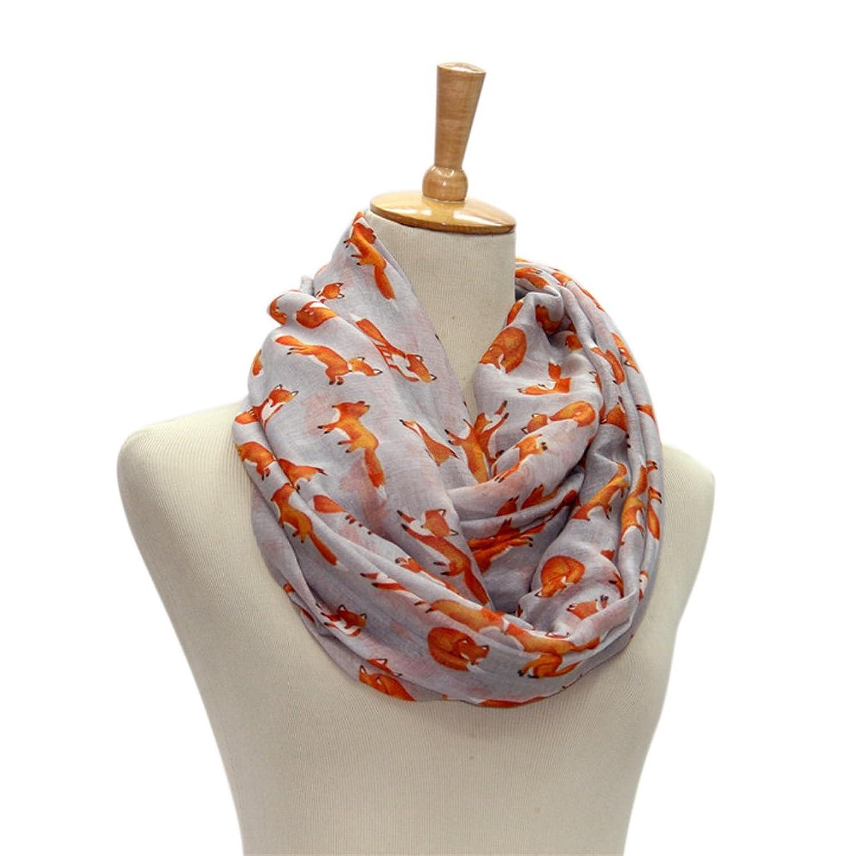 Zizhao Women Long Soft Cotton Voile Fox Print Scarves Shawl Wrap Scarf Stole Pashmina
