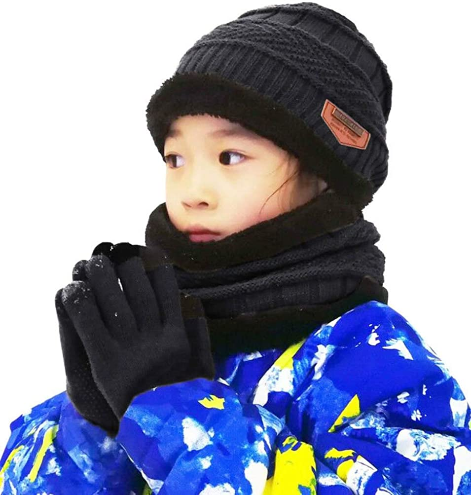HINDAWI Winter Beanie Hat Scarf Gloves for Kids (5-14 Years) Snow Knit Skull Caps Boys Girls Infinity Scarves Touch Screen Mittens: Clothing