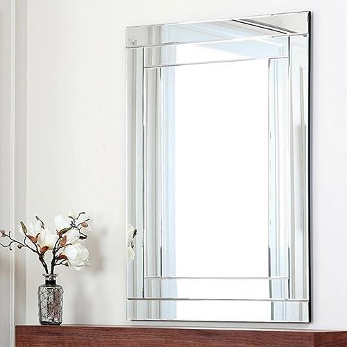 Abbyson Tekema Glass and Wood Mirror