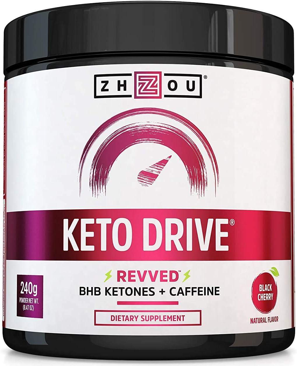 KETO DRIVE with BHB Ketones + Caffeine, Patented Beta-Hydroxybutyrates & Electrolytes (Calcium, Sodium, Magnesium) - Black Cherry 'REVVED', 8.4 oz: Health & Personal Care