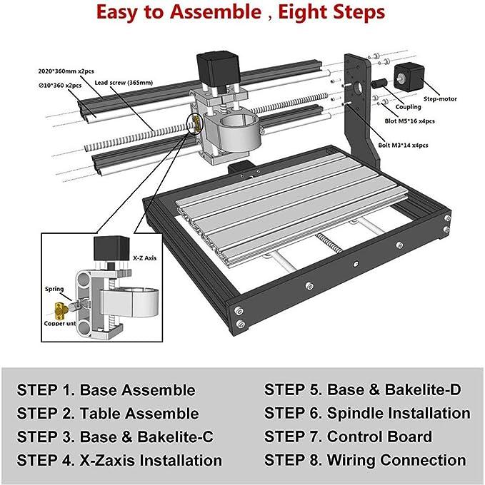 Mostics 2 en 1 CNC 3018 Pro con m/ódulo de potencia de 5,5 W madera Fresadora PVC aluminio blando M/áquina de grabado CNC con volante 3 ejes para mecanizado de acr/ílico M/áquina de grabado CNC