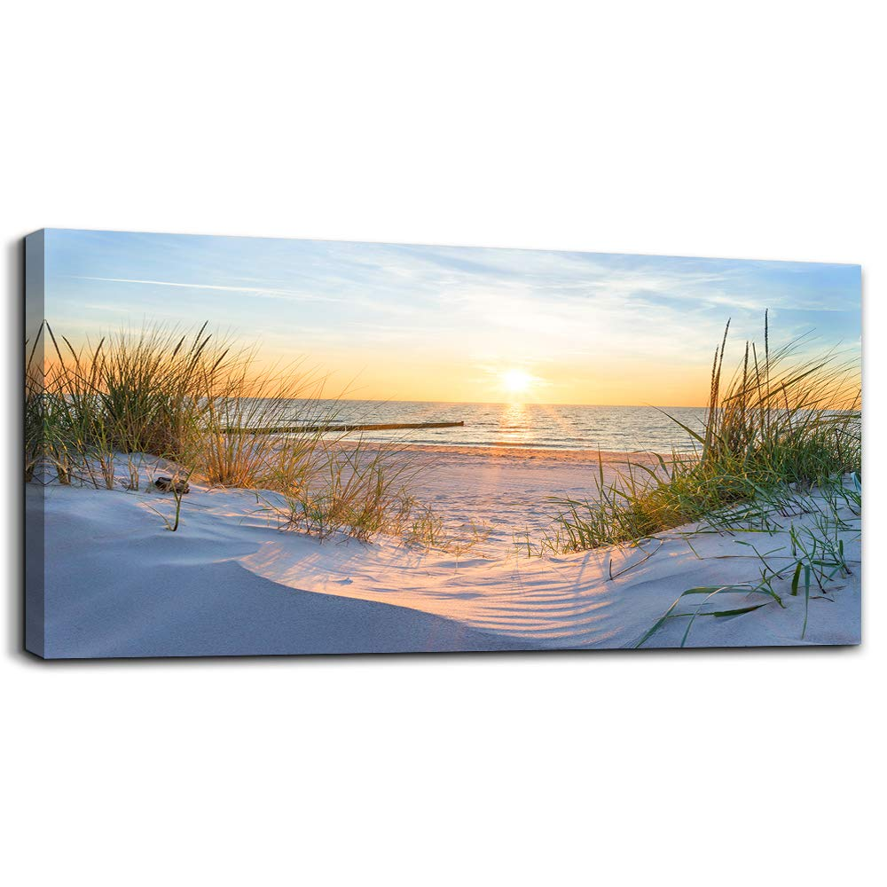 Wall Art for living room Print Artwork Wall Art Decor Poster Blue sun beach grass ocean Landscape painting bedroom bathroom Decorations Seascape Canvas Prints Picture Home Office wall Decor Works by MHART66