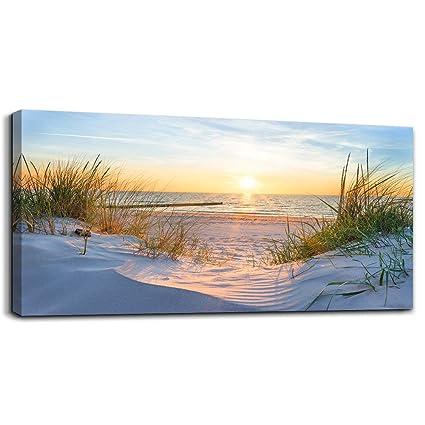 1f42e4fba76 Wall Art for living room Print Artwork Wall Art Decor Poster Blue sun beach  grass ocean