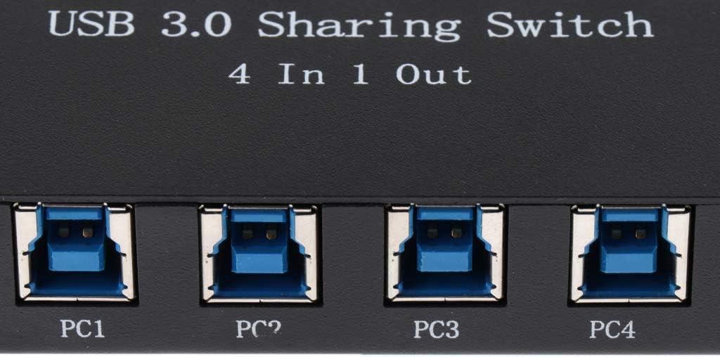Homyl USB Manual Sharing Switch USB 3.0 Switcher Adapter Box 4 PC Share 1 USB Device Splitter Hub for Printer//Scanner Black