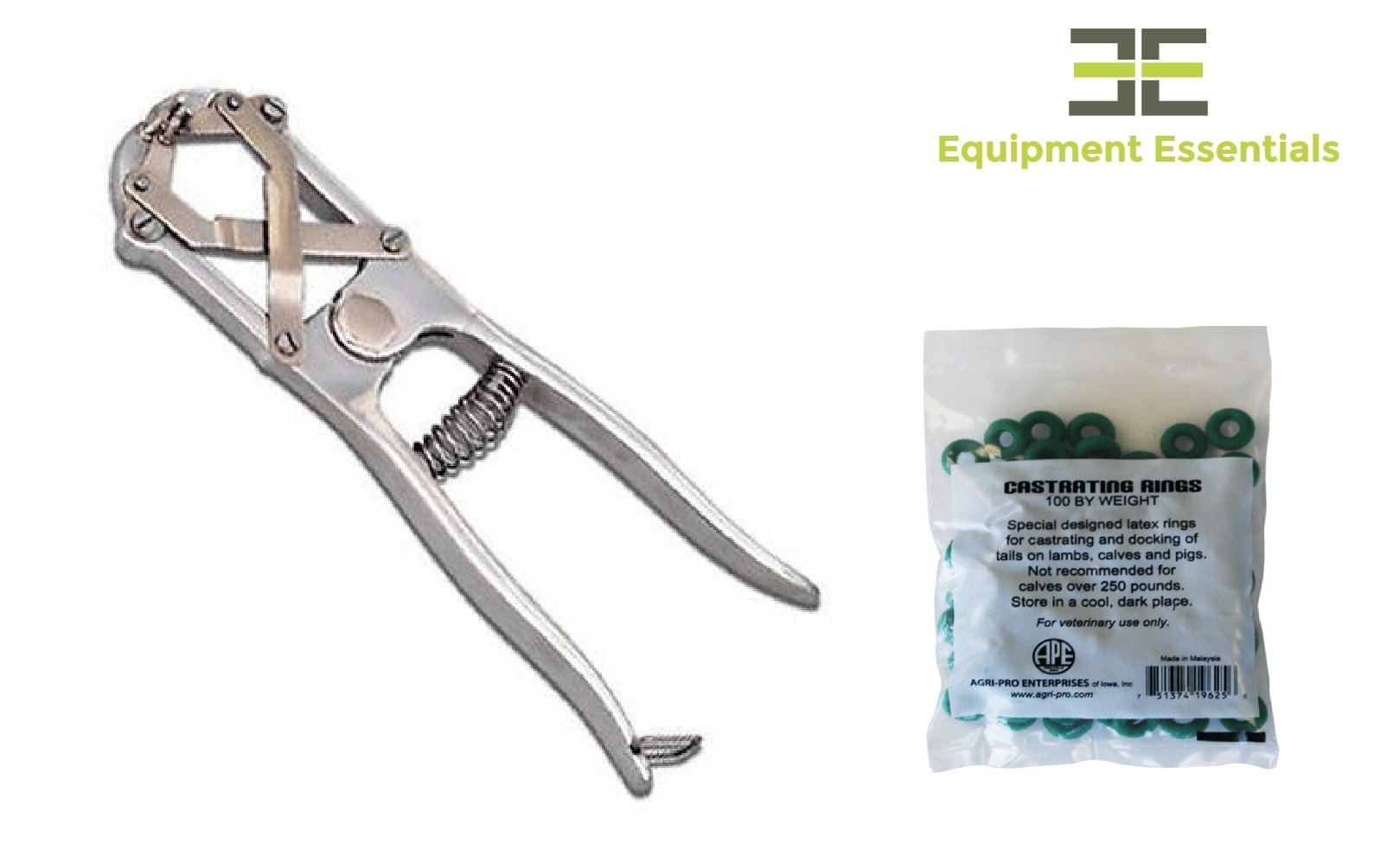 Elastrator Heavy Duty Tool Bander Pliers for Dogs Goats Lambs Calves Pigs Veterinary + 100 Bands