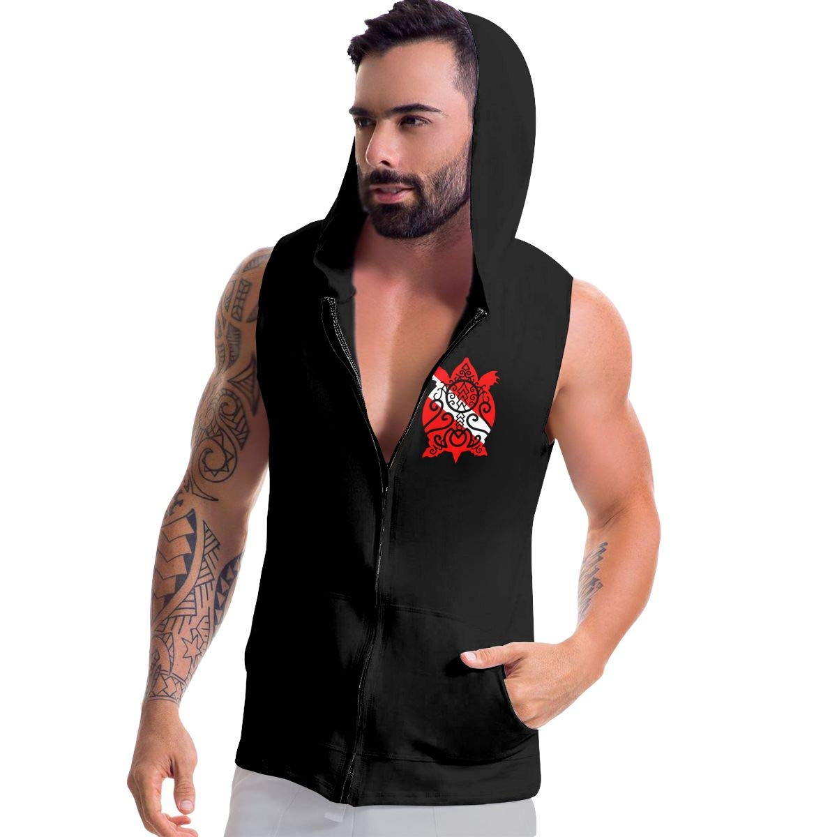 Snapper Turtle Scuba Dive Flag Mens Sleeveless Zipper Hooded Sweater Gym Tank Top