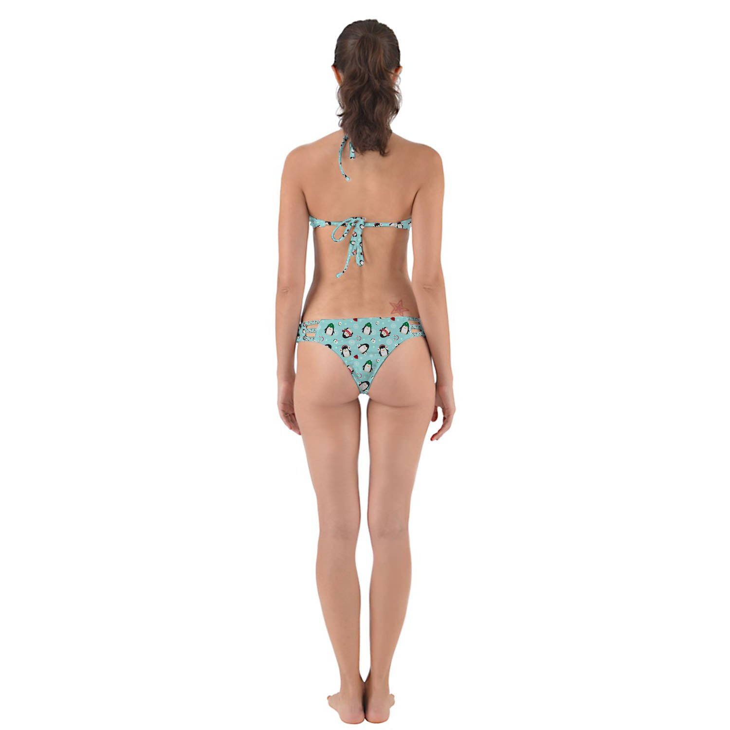 Queen of Cases Cute Penguins Strappy High Neck Bikini Set