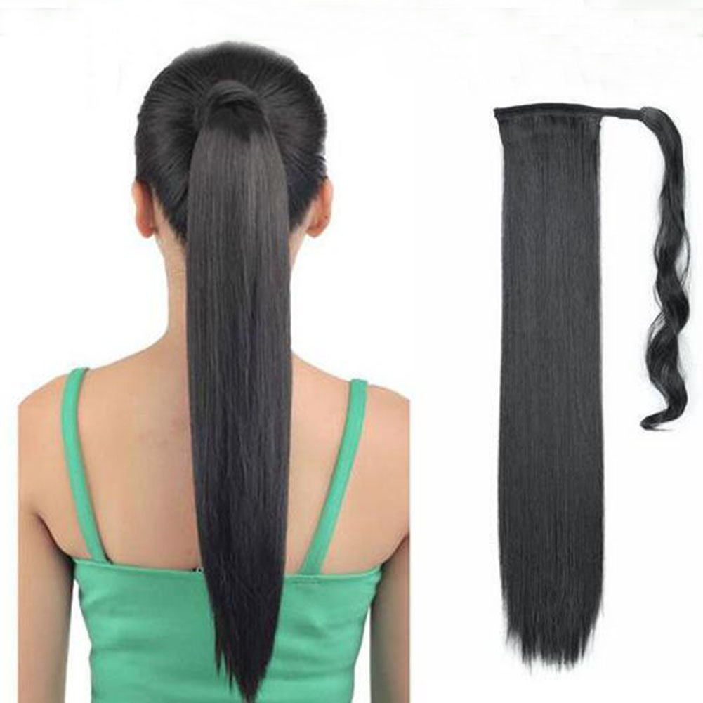 Remeehi Long Straight Ponytail Extension Clip in Hair Wrap Around Human Hair Pony Tail for Women - 16-26 80g(16 1B#)
