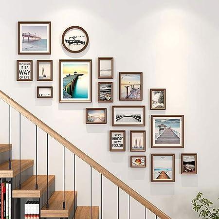 LLF Marco de Fotos Escalera De Madera Multi Portarretratos Collage De Fotos Marcos De Decoración De La Pared Kit 18 Pack For Escaleras Y Home: Amazon.es: Hogar