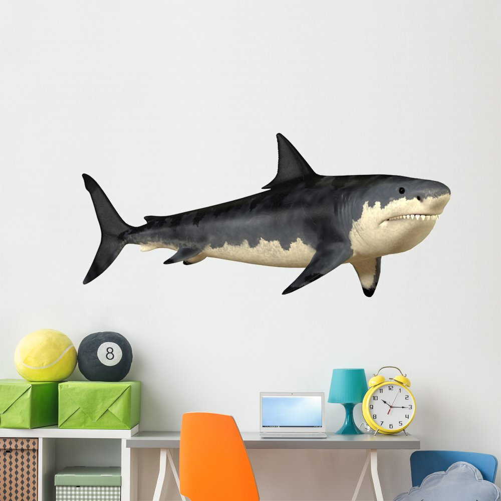 Megalodon Shark Wall Decal by Wallmonkeys Peel and Stick Graphic Dinosaurs for Boys (72 in W x 35 in H) WM11924
