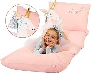 Anzitinlan Unicorn Floor Pillows for Girls, Kid Lounger Chair and Sleeper, Girls Sleeping Bag, Unicorn Pillow, Girls Room Decor, Baby Fleece Fabric Super Soft, Covers Only