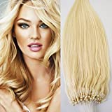 20' 50g 100s Micro Ring Loop 100% Human Hair Extensions Natural Soft Real Beauty Straight Hair Gift 100strands in one pack, (color #60 Platinum Blonde/ White Blonde)