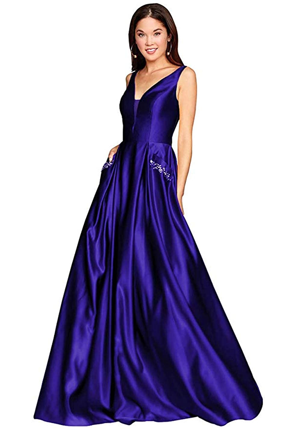 01royalbluee PROMNOVAS Women's V Neck Backless Beaded Satin Prom Dress Long Formal Evening Gown with Pockets