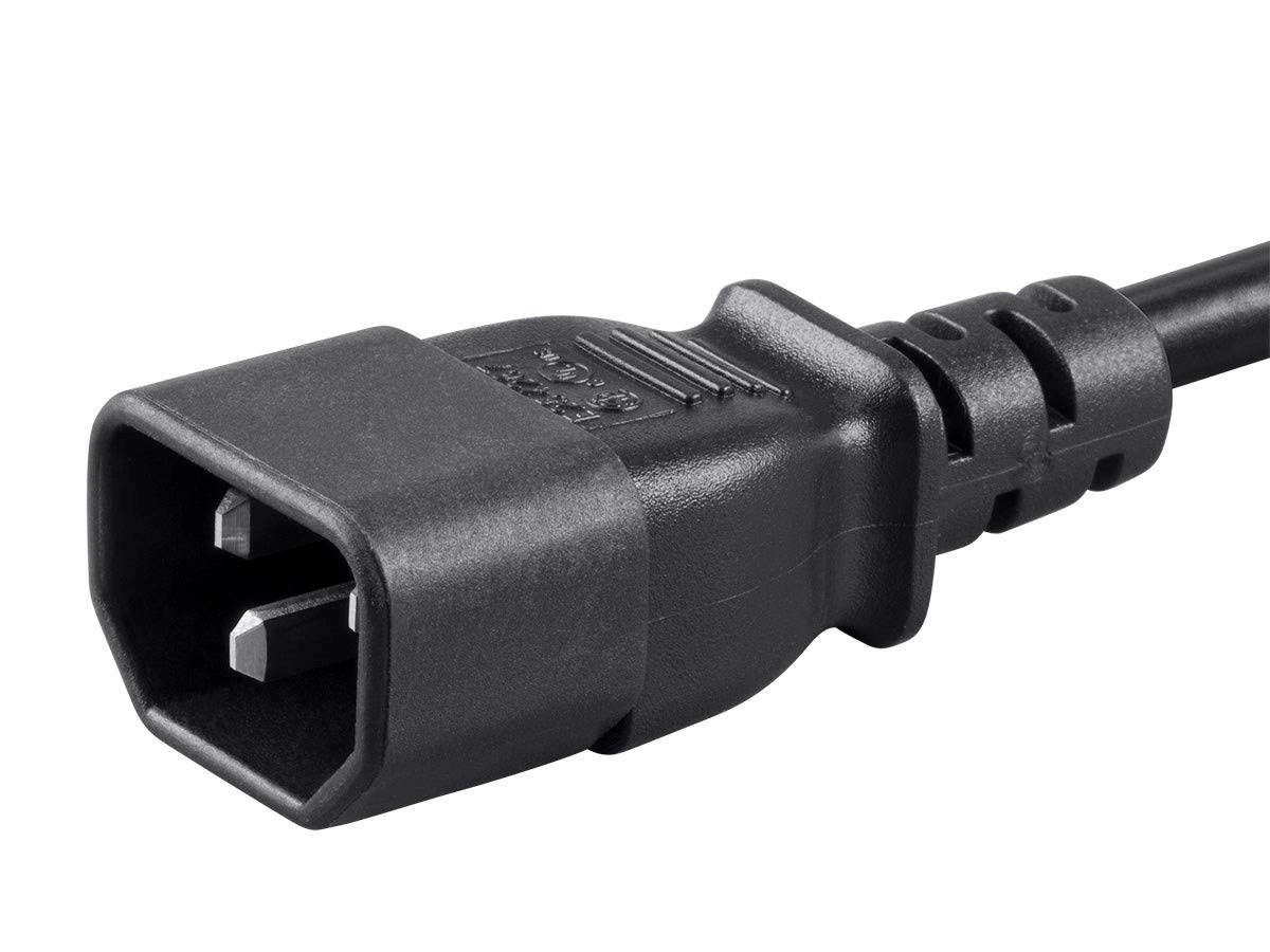 IEC 60320 C14 to IEC 60320 C13 127309 Monoprice 2ft 16AWG Power Extension Cord Cable with 3 Conductor PC//Mon 13A