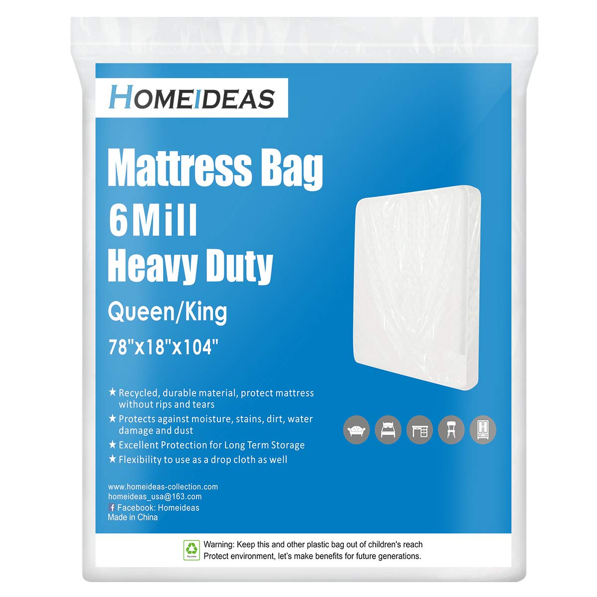 ComfortHome 6 Mil Heavy Duty Mattress Bag for 6 Mil 1 Pack Twin//Full Clear