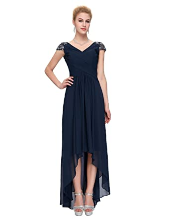 B Emily V Neck Hi-Lo Sequins A Line Evening Gown Formal Dresses ED014: Amazon.co.uk: Clothing