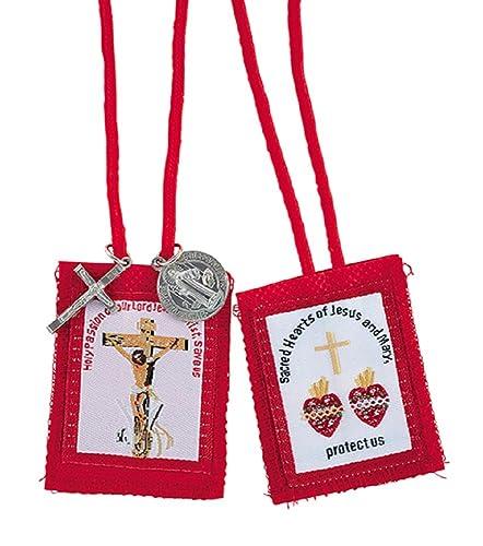 12pc (docena) rojo pasión con medallas escapulario