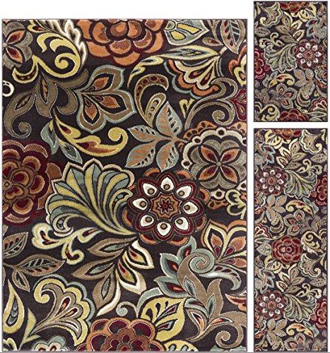 Dilek Transitional Floral Brown 3-Piece Area Rug Set, 3-Piec