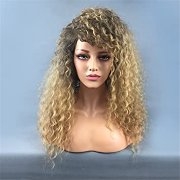 TTHJY Pelucas Sintéticas Kinky Curly/Rizado Jheri Con Flequillo Pelo Sintético Pelo Ombre/Peluca