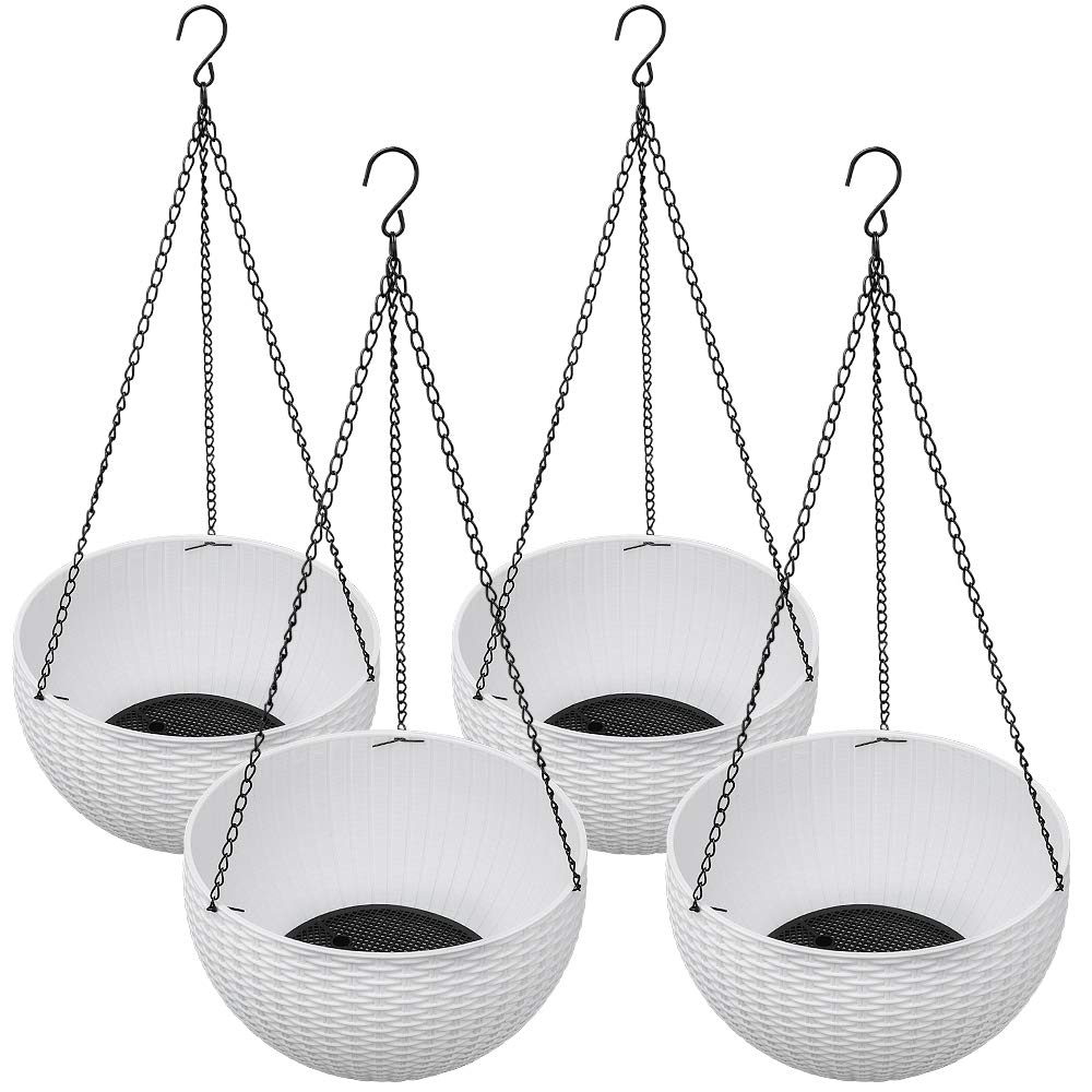 Homes Garden Plastic Rattan Hanging Planter 10.5 in. Dia White (4-Pack) Flower Plant Hanging Basket for Home Office Porch Balcony Wall Indoor Outdoor Decoration Garden Gift #G719A00