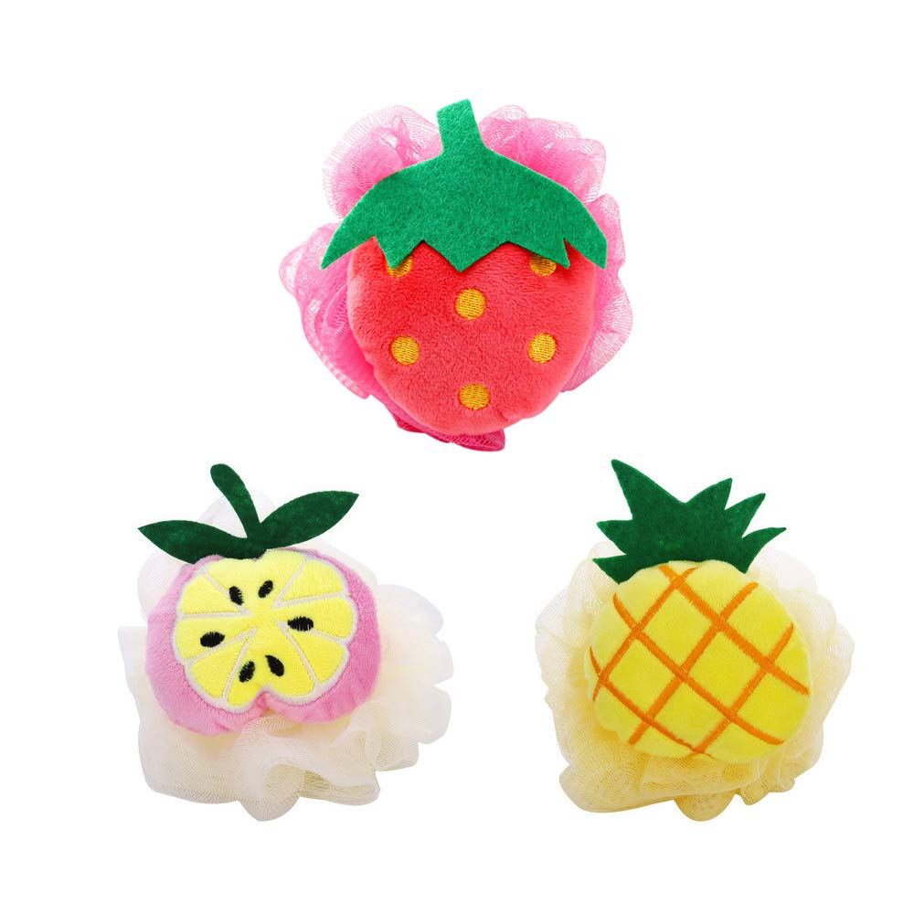 3 Pack Shower Sponge Poufs/Mesh Bath Loofahs Ball, Body Cleaning Washing Scrubber/2 in 1 Cute Fruits Shaped Bathroom Bubbler Accessory for Dry Skin Exfoliating, Cellulite, Massage MansWill